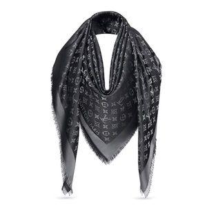 84ab3d49701 Louis Vuitton. Louis Vuitton Black Monogram Shine Shawl Scarf